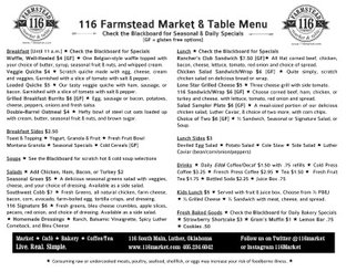 116 Farmstead Market & Table Menu