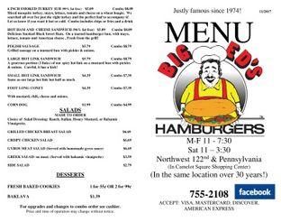 Explore the Big Ed's Hamburgers menu.