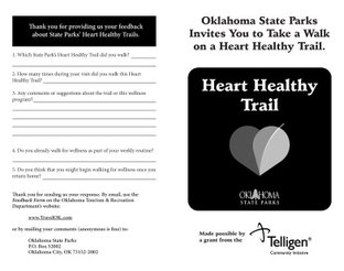 Lake Wister State Park - Heart Healthy Trail Booklet