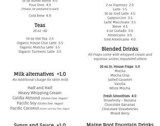 Strayhouse Drink & Lunch Menu