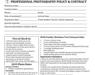 Professional Photography Policy & Contract