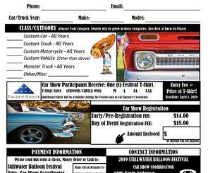 Car Show Registration Form