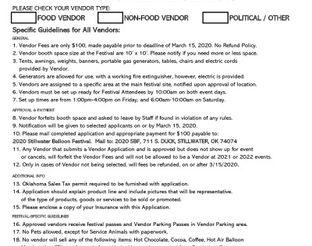 2020 Vendor Application Form