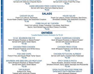 Twin Bridges Restaurant Dinner Menu