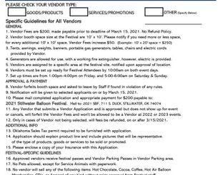2021 Vendor Application Form