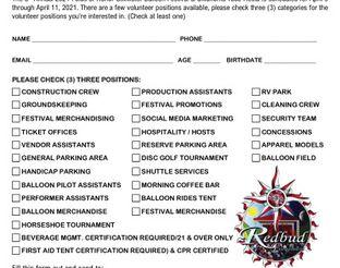 2021 Volunteer Sign-up Form