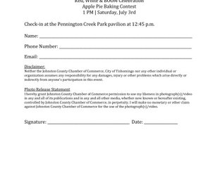 Apple Pie Baking Contest Entry Form