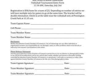 Volleyball Tournament Entry Form
