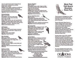 Migratory Bird Map for Quartz Mountain State Park.