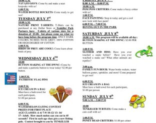 Fourth of July Schedule - Driftwood Nature Center