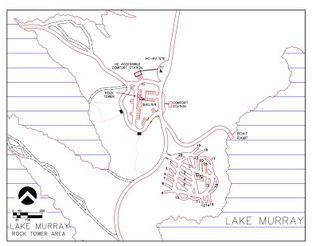 View Map of Lake Murray Rock Tower Campground
