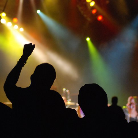 The crowd cheers at Rocklahoma, a summer rock musical festival held in Pryor.