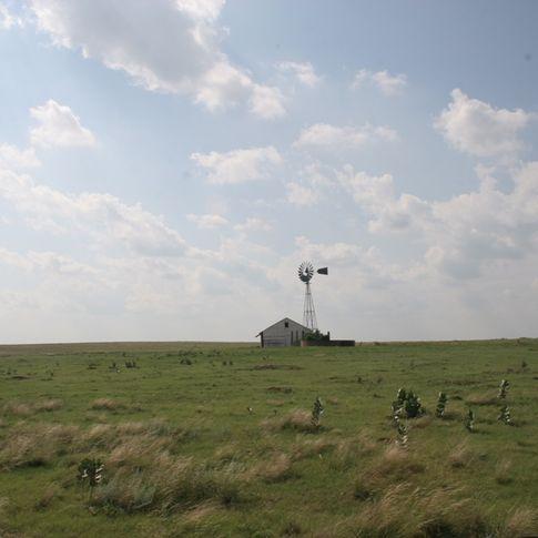 A little house on the Great Plains creates a picturesque prairie scene near Guymon.