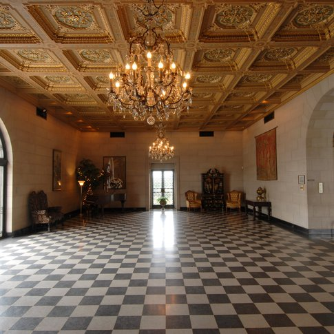 The Marland Mansion's ornate ceiling in the grand ballroom would require more than $2 million in order to be recreated today. The Marland Estates are located in Ponca City.