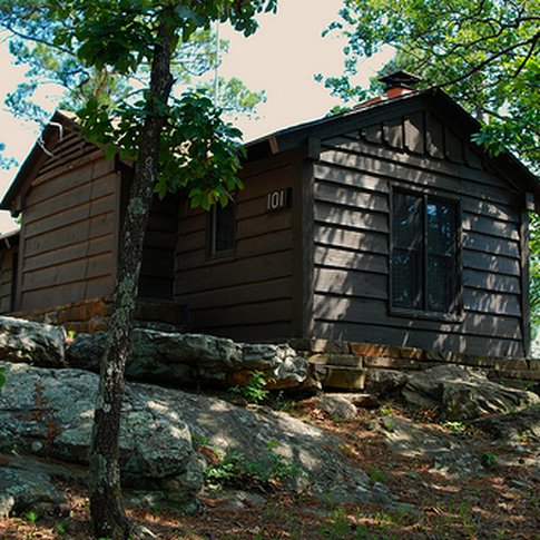 The romantic #1 cabin at Robbers Cave State Park is also known as the Honeymoon Cabin since it is secluded and offers amazing wrap-around views from its location atop a scenic ridge.  This historic cabin was built by the CCC in the 1930s.