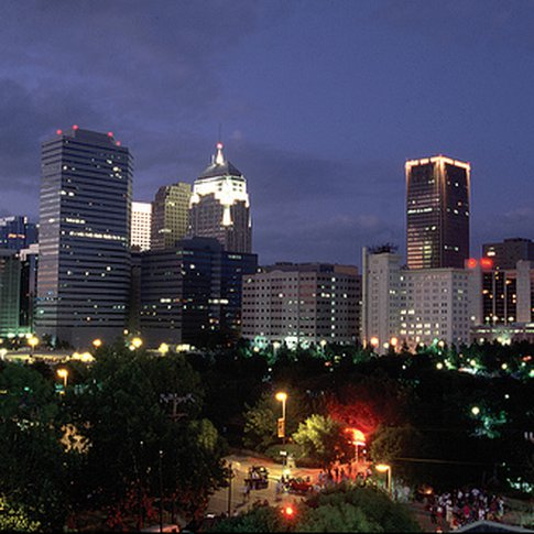 The Oklahoma City skyline lights up the night in central Oklahoma.