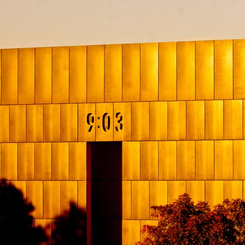 The monumental Gates of Time at the Oklahoma City National Memorial frame the moment in time when the Alfred P. Murrah Federal Building was bombed and we were changed forever.