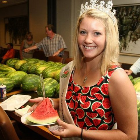The Rush Springs Watermelon Queen welcomes visitors to enjoy a slice of the more than 50,000 pounds of juicy watermelon served at the Rush Springs Watermelon Festival each year.  The festival also offers watermelon-themed activities, carnival rides and plenty of old-fashioned family fun.