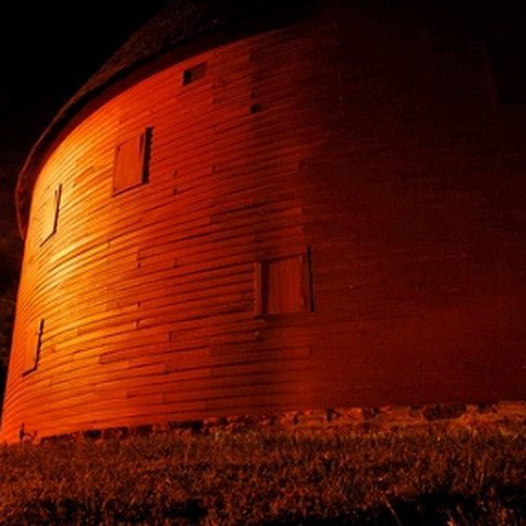 The Round Barn of Arcadia at night.  The Round Barn has been a Route 66 icon in Arcadia for decades.
