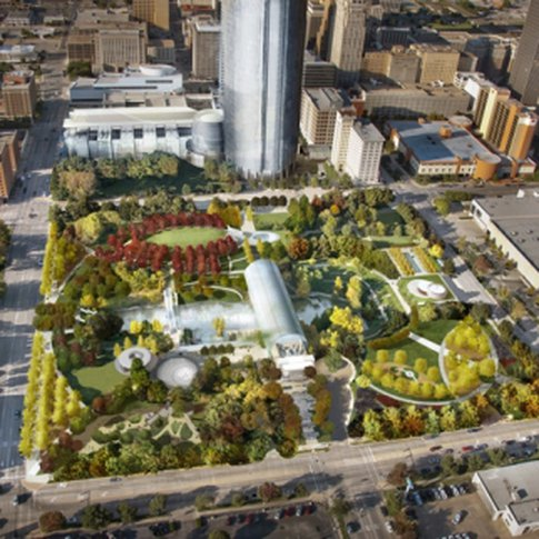 The design of the Myriad Botanical Gardens in downtown Oklahoma City was inspired by New York City's Central Park.
