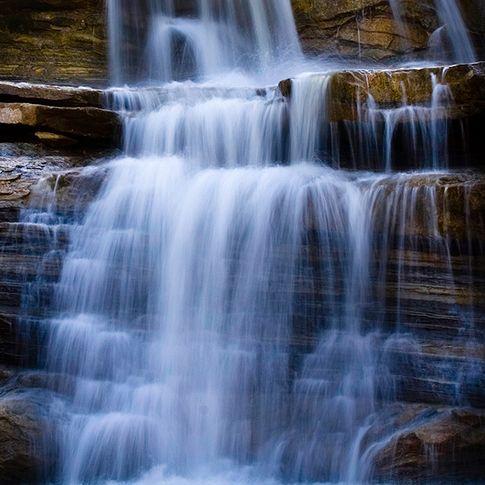 The spillway from Lake Bluestem creates wonderful cascades in Pawhuska.