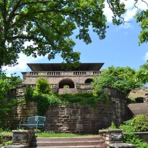 The Pawnee Bathhouse & Recreation Area is a 1939 WPA sandstone structure that overlooks a two acre fresh water pool with a sandy beach, water slide, high dive, water trampoline and paddle boats.