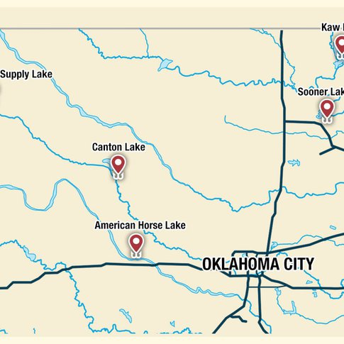 Enjoy diverse fishing opportunities at five standout lakes in northwestern Oklahoma.