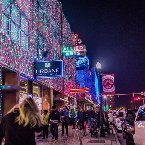 Wander through the decked out Automobile Alley Entertainment District in Oklahoma City.