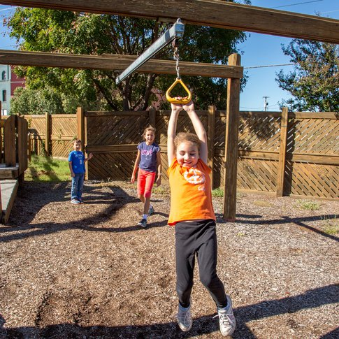 Play on the outdoor playground at Leonardo's Children's Museum & Adventure Quest in Enid.