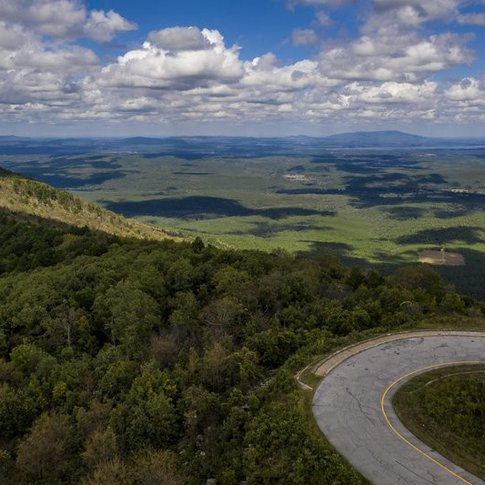 The twists and turns on the Talimena National Scenic Byway provide outstanding views.