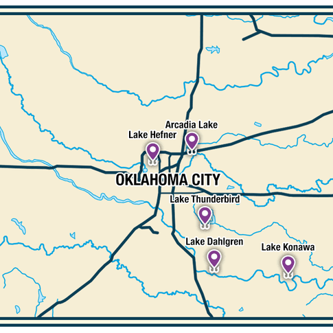 Discover excellent fishing opportunities in central Oklahoma.