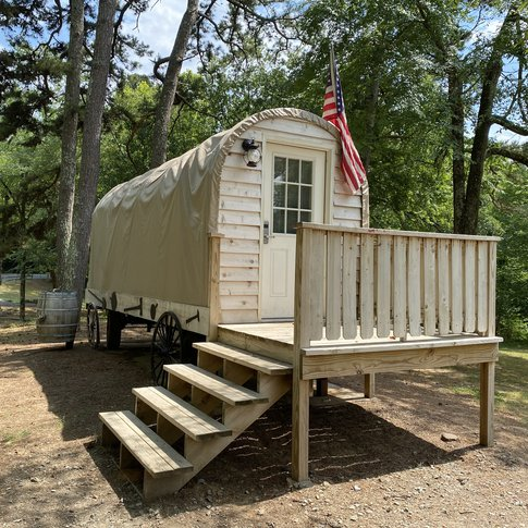 Make your next visit to Robbers Cave State Park memorable with a stay in a covered wagon.