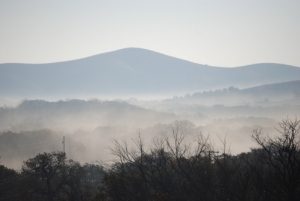 Fog envelops the Wichita Mountains on a cold winter morning.