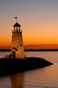 The Lake Hefner lighthouse in Oklahoma City seems to glow in the brilliant sunset.