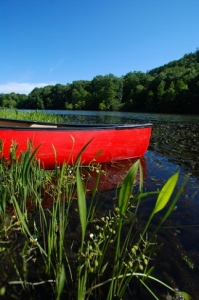 A bright canoe adds an artistic touch to this scenic Mountain Fork River waterscape.  The Mountain Fork River in southeastern Oklahoma's Beavers Bend State Park is a popular floating destination.