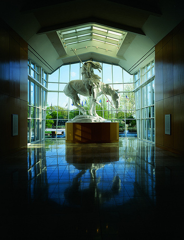 "The monumental ""End of the Trail"" sculpture by James Earle Fraser is perfectly framed near the entrance of the National Cowboy & Western Heritage Museum in Oklahoma City."