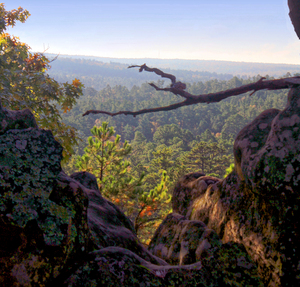 The beauty of the Sans Bois Mountains is captured from an overlook at Robbers Cave State Park in Wilburton.  The park offers a lodge, historic cabins, camping, hiking, Lake Carlton with swim beach and canoe rentals, rock climbing, horseback riding, and a nature center.