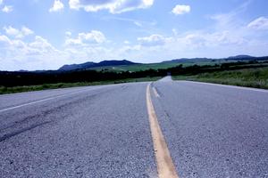 The Wichita Mountains of southwest Oklahoma rise from the prairie.