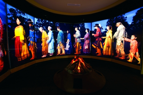 The Stomp Dance Gallery of the Chickasaw Cultural Center in Sulphur features holograms and a glowing campfire to simulate the age-old tradition of the sacred stomp dance.