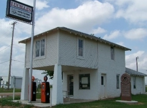 Lucille's Service Station, a classic and historic gas station along Route 66 near Hydro, is one of only two upper-story, out-thrust porch style stations left on Oklahoma's stretch of Route 66.