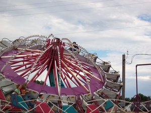 Visitors to the Canadian County Free Fair in El Reno are in for a thrill when they climb aboard an exciting midway ride.