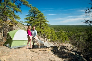 Robbers Cave State Park near Wilburton offers scenic campgrounds and family friendly outdoor activities.