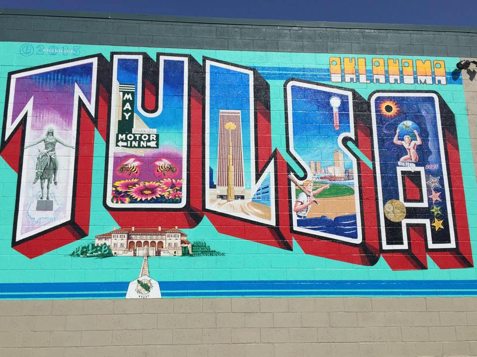 Oklahomas eye catching murals travelok oklahomas official the artist behind the iconic greetings from austin postcard mural repurposed this same theme on the walls of a tulsa building bringing life to this tulsa m4hsunfo