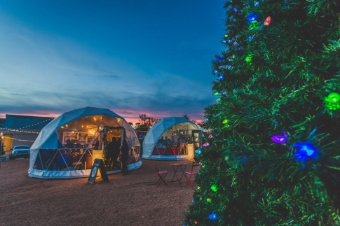 The Holiday Pop-Up Shops in Oklahoma City feature geodesic domes perfect for holiday shopping.