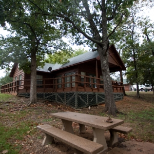 Spend the night inside the comfort of a resort cabin at Hugo Lake State Park. Photo by Rebekah Workman.